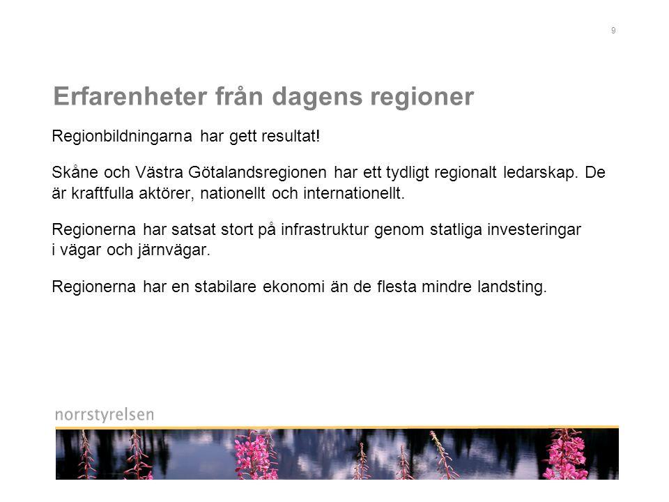 9 Erfarenheter från dagens regioner Regionbildningarna har gett resultat.