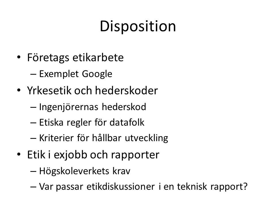 Disposition • Företags etikarbete – Exemplet Google • Yrkesetik och hederskoder – Ingenjörernas hederskod – Etiska regler för datafolk – Kriterier för