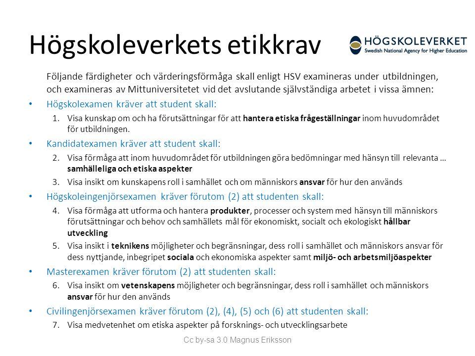 Högskoleverkets etikkrav Följande färdigheter och värderingsförmåga skall enligt HSV examineras under utbildningen, och examineras av Mittuniversitete