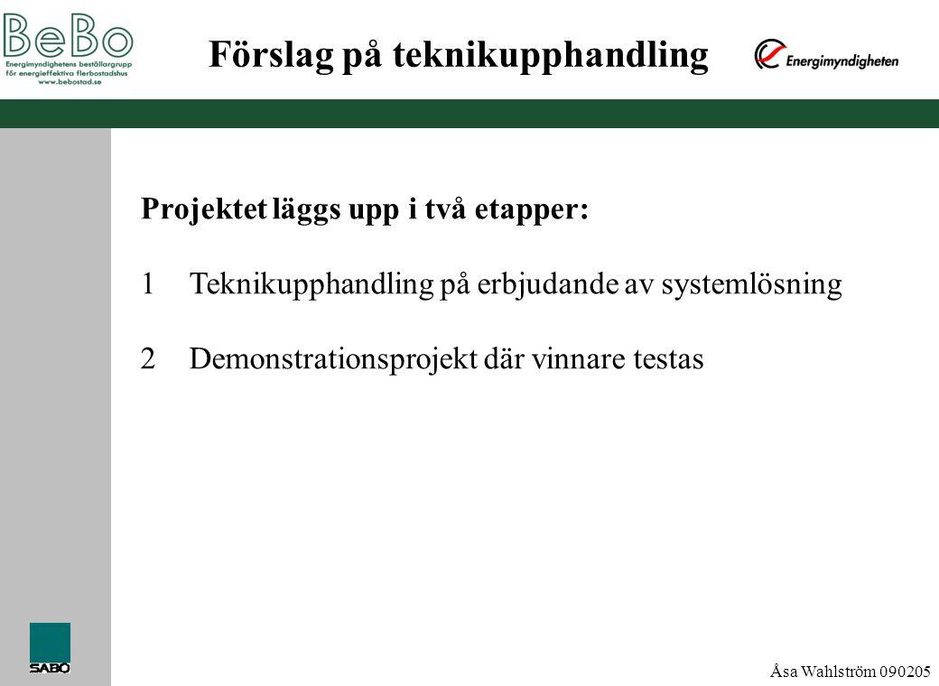 Åsa Wahlström 090205 Förslag på teknikupphandling Projektet läggs upp i två etapper: 1Teknikupphandling på erbjudande av systemlösning 2Demonstrations