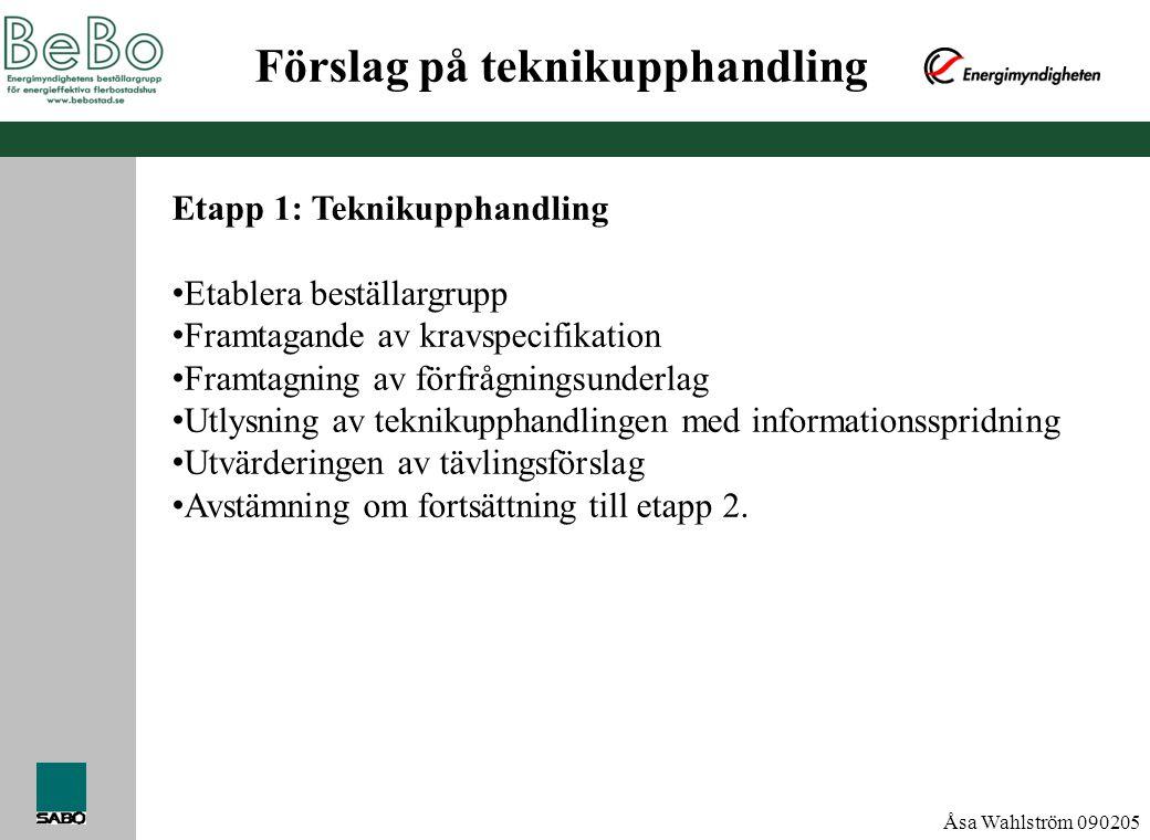 Åsa Wahlström 090205 Förslag på teknikupphandling Etapp 1: Teknikupphandling • Etablera beställargrupp • Framtagande av kravspecifikation • Framtagnin