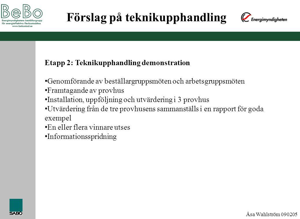 Åsa Wahlström 090205 Förslag på teknikupphandling Etapp 2: Teknikupphandling demonstration • Genomförande av beställargruppsmöten och arbetsgruppsmöte