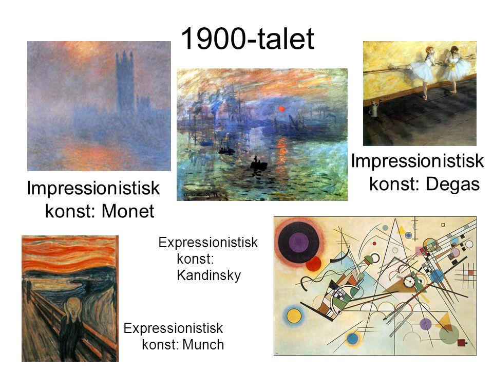 1900-talet Impressionistisk konst: Monet Expressionistisk konst: Munch Impressionistisk konst: Degas Expressionistisk konst: Kandinsky