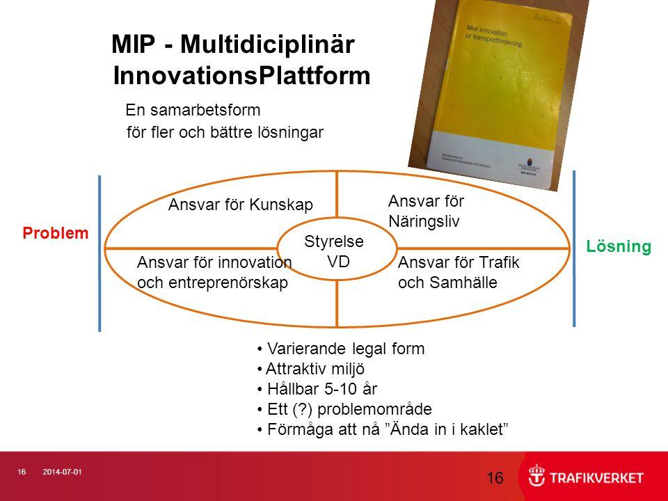 162014-07-01 16 MIP - Multidiciplinär InnovationsPlattform En samarbetsform för fler och bättre lösningar Problem Lösning Styrelse VD Ansvar för Kunsk
