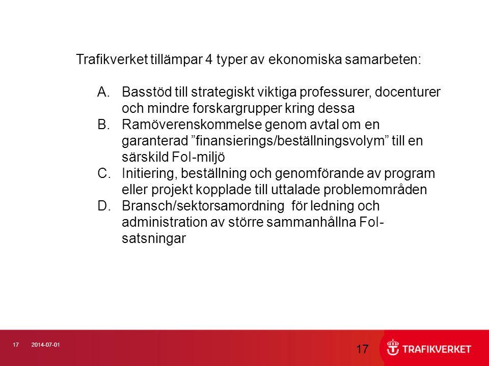 172014-07-01 17 Trafikverket tillämpar 4 typer av ekonomiska samarbeten: A.Basstöd till strategiskt viktiga professurer, docenturer och mindre forskar