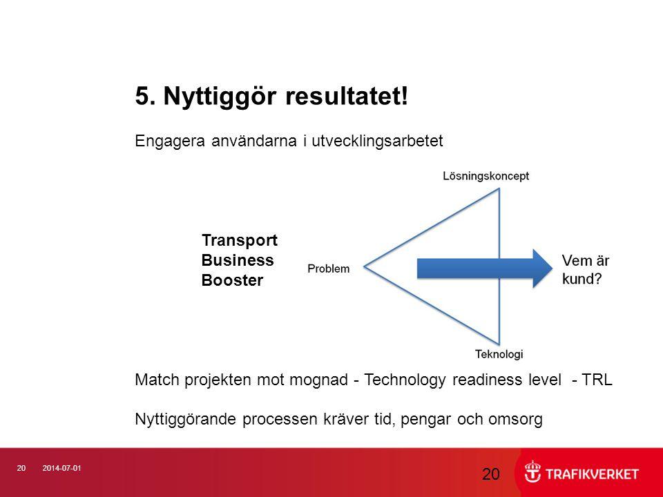 202014-07-01 5. Nyttiggör resultatet! Engagera användarna i utvecklingsarbetet Transport Business Booster Match projekten mot mognad - Technology read