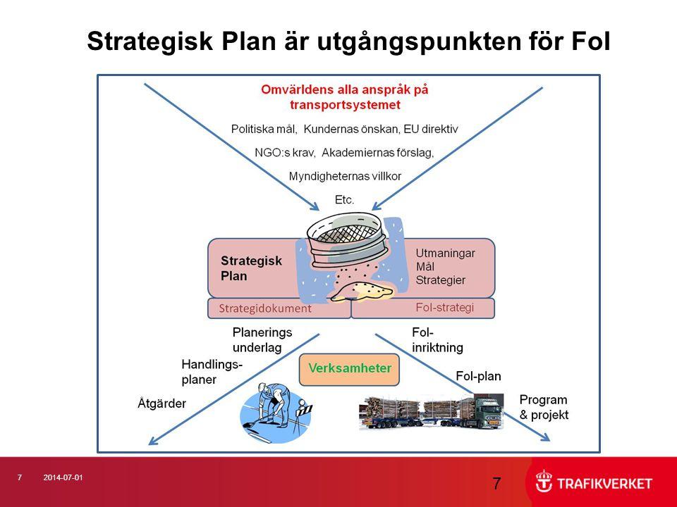 72014-07-01 7 Strategisk Plan är utgångspunkten för FoI