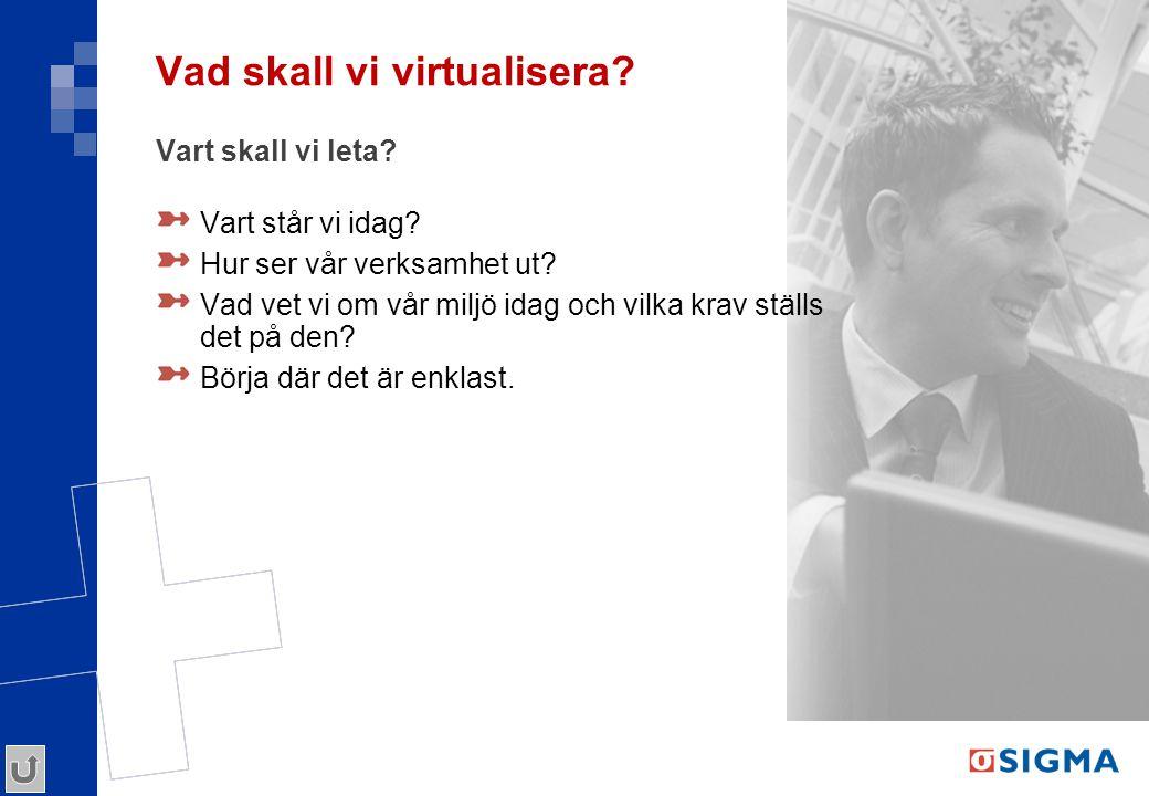 Vad skall vi virtualisera? Vart skall vi leta? Vart står vi idag? Hur ser vår verksamhet ut? Vad vet vi om vår miljö idag och vilka krav ställs det på