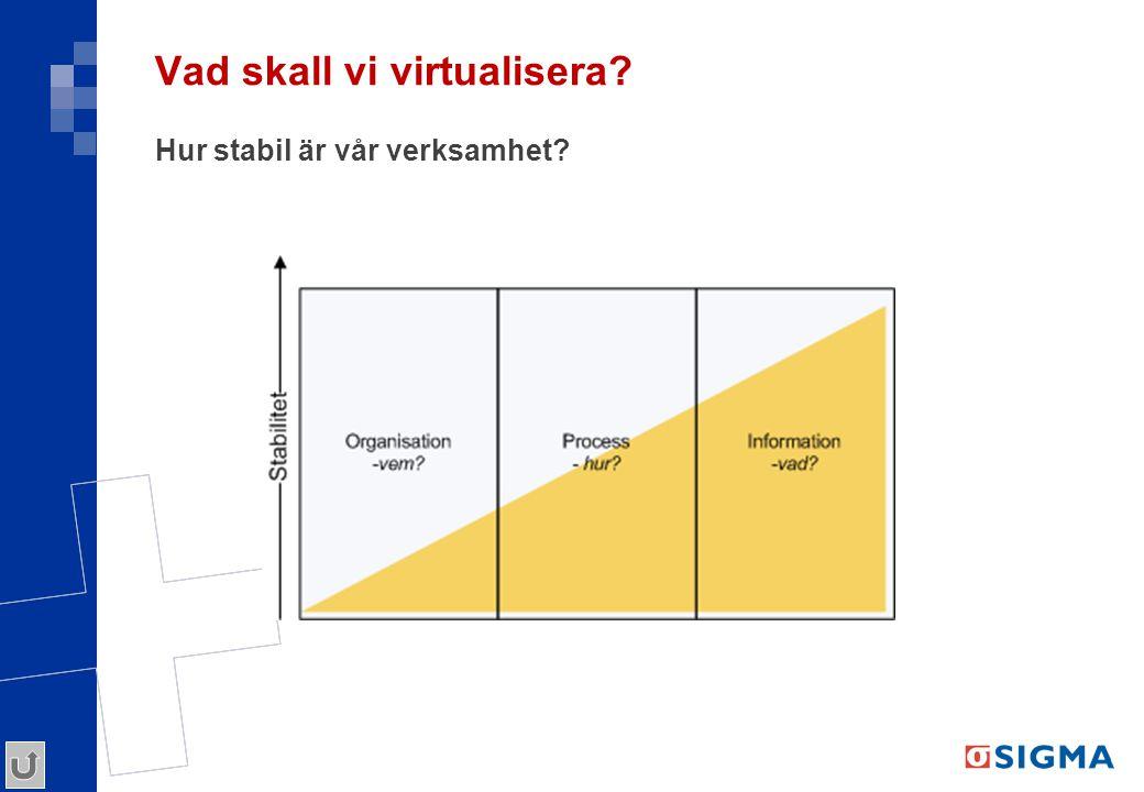 Vad skall vi virtualisera? Hur stabil är vår verksamhet?