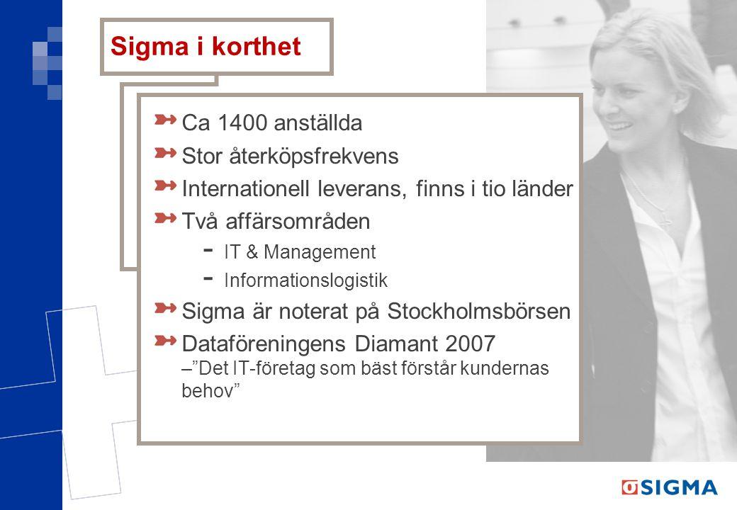 Sigma i korthet Ca 1400 anställda Stor återköpsfrekvens Internationell leverans, finns i tio länder Två affärsområden - IT & Management - Informations