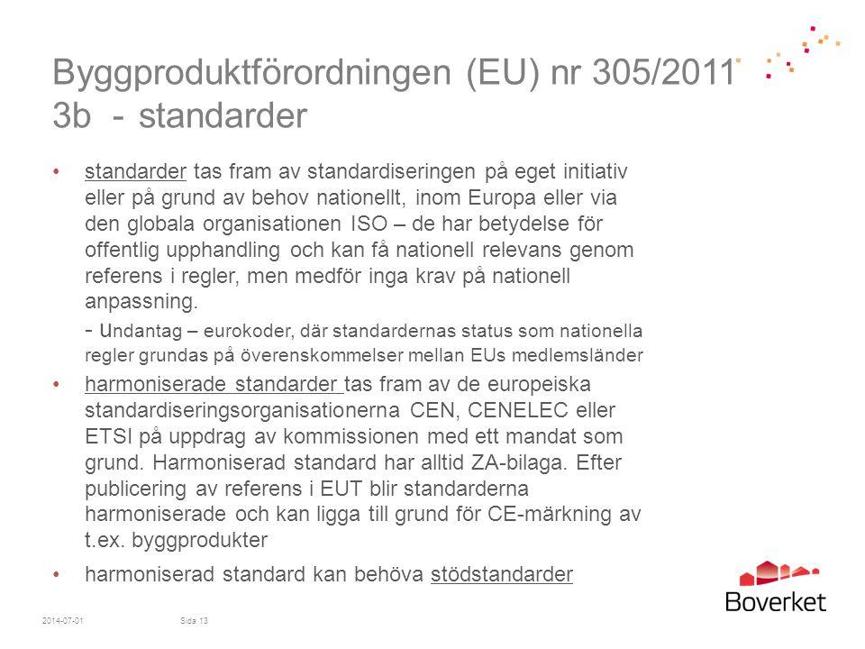 Byggproduktförordningen (EU) nr 305/2011 3b - standarder •standarder tas fram av standardiseringen på eget initiativ eller på grund av behov nationell