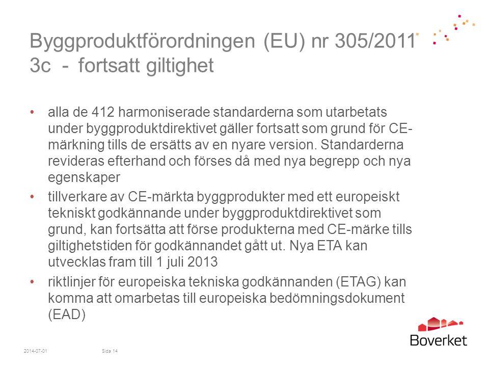 Byggproduktförordningen (EU) nr 305/2011 3c - fortsatt giltighet •alla de 412 harmoniserade standarderna som utarbetats under byggproduktdirektivet gä