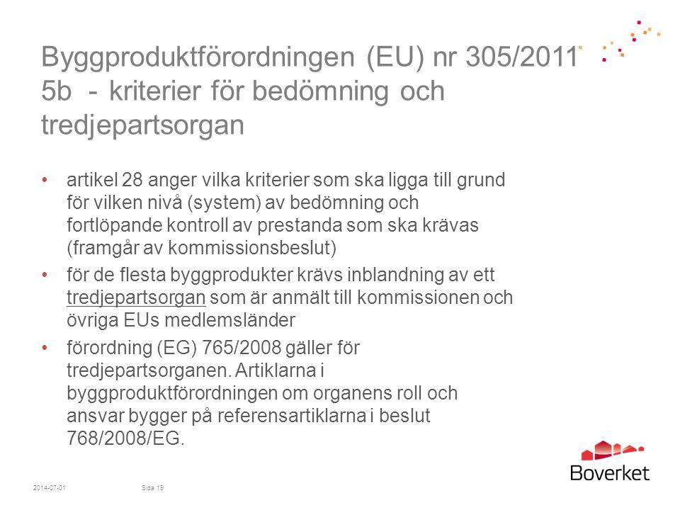 Byggproduktförordningen (EU) nr 305/2011 5b - kriterier för bedömning och tredjepartsorgan •artikel 28 anger vilka kriterier som ska ligga till grund
