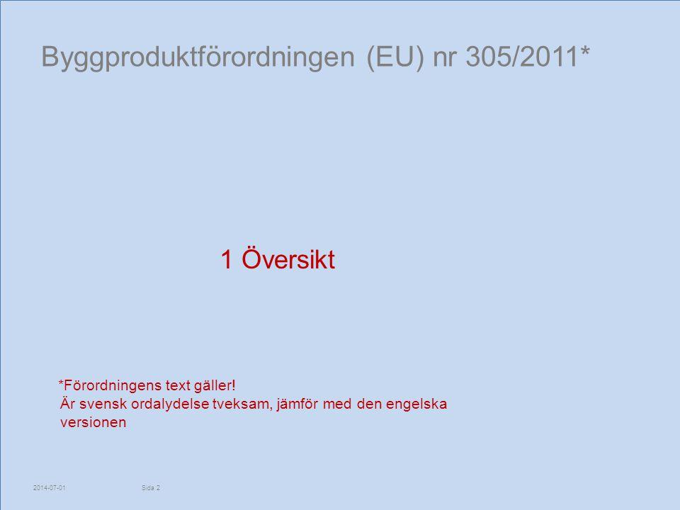 Byggproduktförordningen (EU) nr 305/2011* 1 Översikt *Förordningens text gäller! Är svensk ordalydelse tveksam, jämför med den engelska versionen 2014