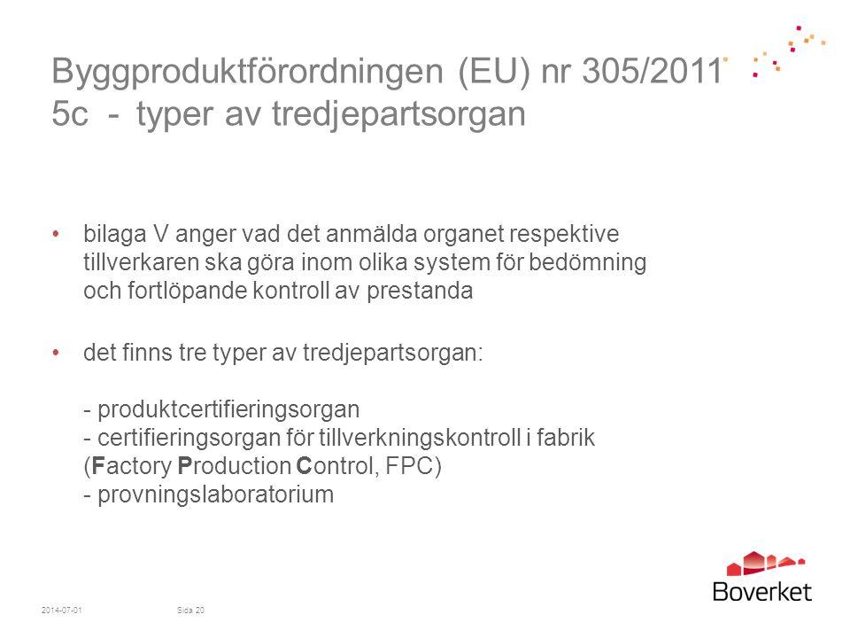 Byggproduktförordningen (EU) nr 305/2011 5c - typer av tredjepartsorgan •bilaga V anger vad det anmälda organet respektive tillverkaren ska göra inom