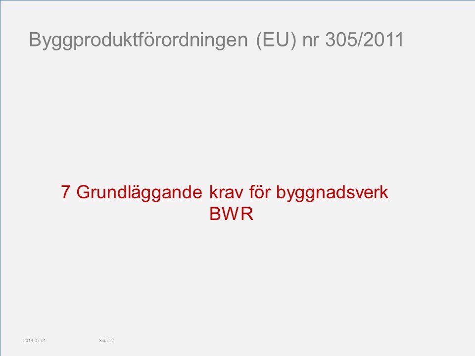 Byggproduktförordningen (EU) nr 305/2011 2014-07-01 7 Grundläggande krav för byggnadsverk BWR Sida 27