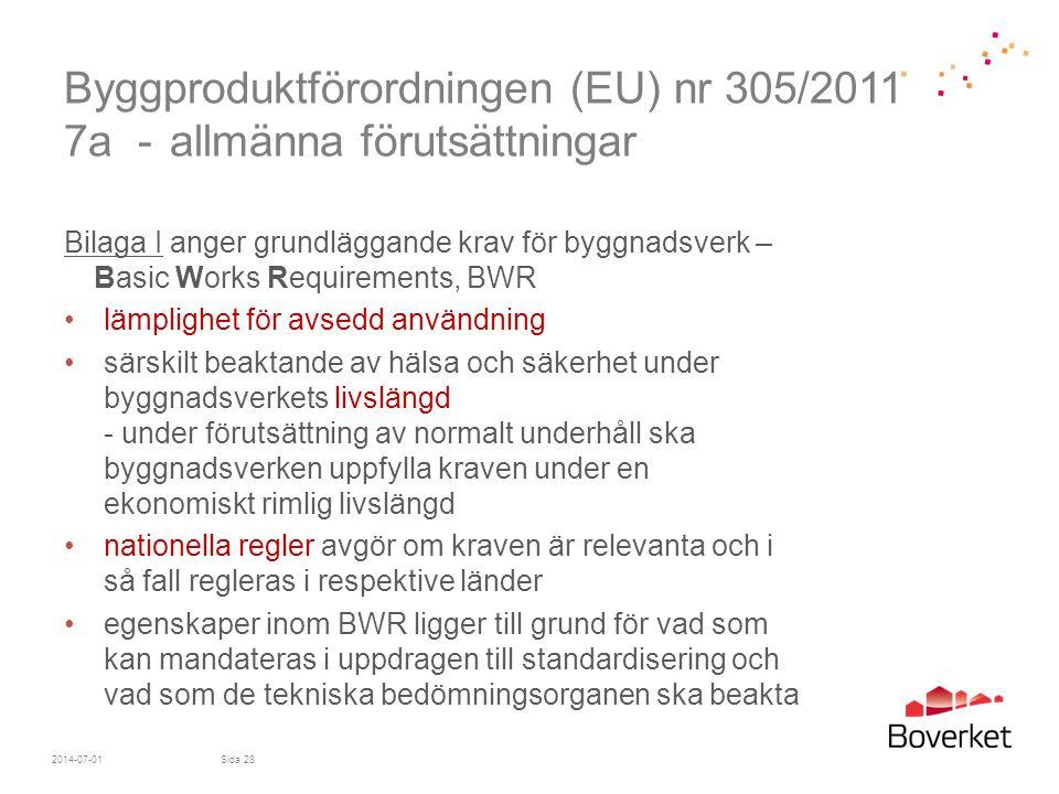 Byggproduktförordningen (EU) nr 305/2011 7a - allmänna förutsättningar Bilaga I anger grundläggande krav för byggnadsverk – Basic Works Requirements,