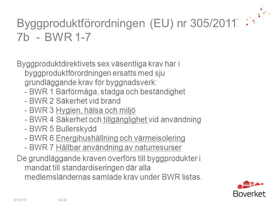 Byggproduktförordningen (EU) nr 305/2011 7b - BWR 1-7 Byggproduktdirektivets sex väsentliga krav har i byggproduktförordningen ersatts med sju grundlä