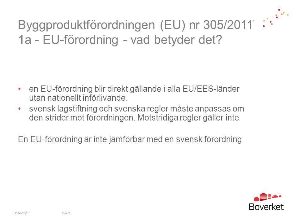 Byggproduktförordningen (EU) 305/2011 12f – importörer del 2 Importörer ska vidare - se till att produkten åtföljs av bruksanvisning och säkerhetsföreskrifter på språk som medlemsstaten bestämmer och lätt kan förstås av användare - se till att lagrings- och transportförhållandena inte äventyrar produktens överensstämmelse med prestandadeklarationen - utföra stickprov, utreda och registrera klagomål, produkter som inte överensstämmer med kraven och produktåterkallelser och informera distributörer om detta - vidta korrigerande åtgärder, dra tillbaka eller återkalla en produkt om produkten inte överensstämmer - underrätta marknadskontrollmyndigeter där produkten satts på marknaden om produkten utgör en risk - samarbeta med marknadskontrollmyndigheten 2014-07-01Sida 54
