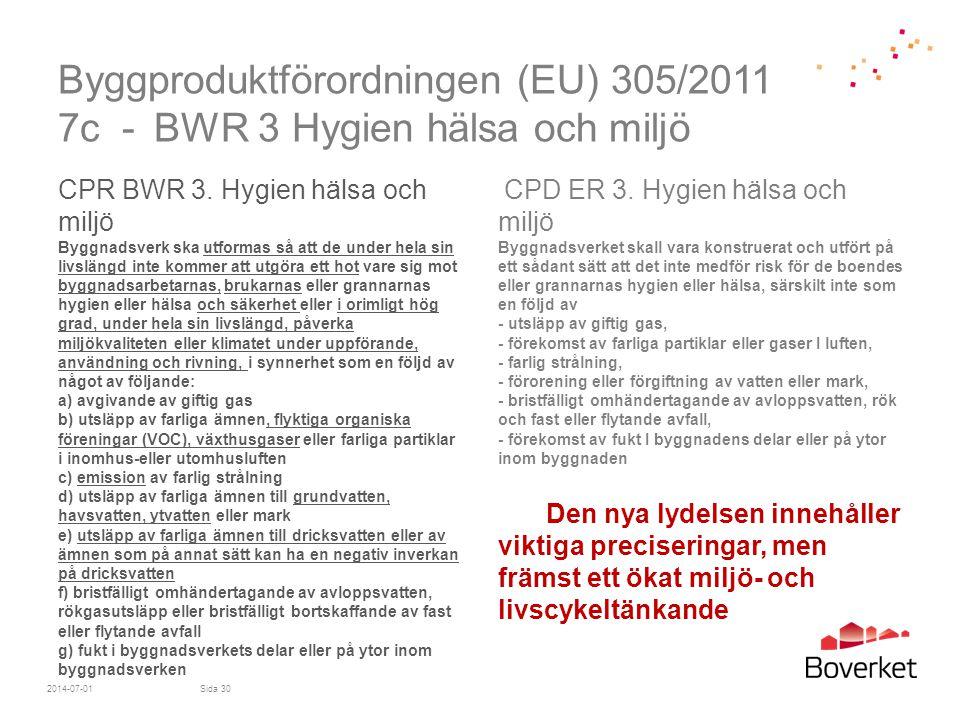 Byggproduktförordningen (EU) 305/2011 7c - BWR 3 Hygien hälsa och miljö CPR BWR 3. Hygien hälsa och miljö Byggnadsverk ska utformas så att de under he