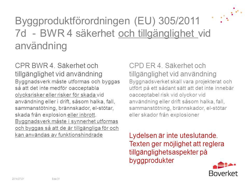 Byggproduktförordningen (EU) 305/2011 7d - BWR 4 säkerhet och tillgänglighet vid användning CPR BWR 4. Säkerhet och tillgänglighet vid användning Bygg