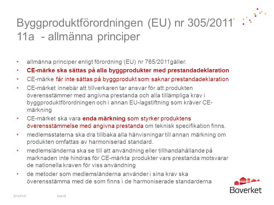 Byggproduktförordningen (EU) nr 305/2011 11a - allmänna principer •allmänna principer enligt förordning (EU) nr 765/2011gäller. •CE-märke ska sättas p