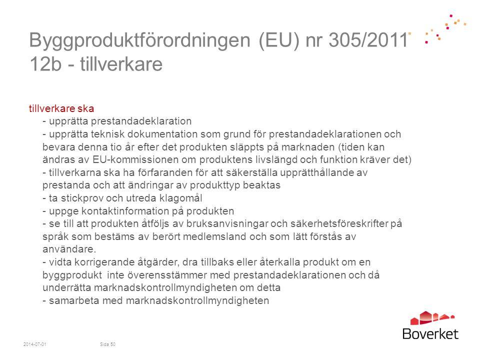 Byggproduktförordningen (EU) nr 305/2011 12b - tillverkare tillverkare ska - upprätta prestandadeklaration - upprätta teknisk dokumentation som grund