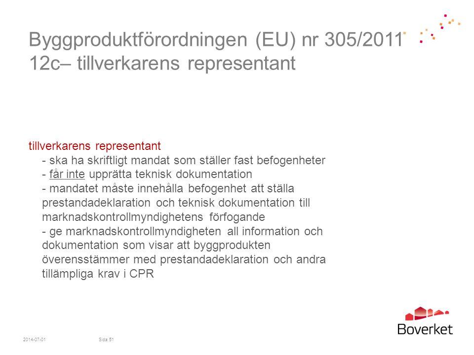 Byggproduktförordningen (EU) nr 305/2011 12c– tillverkarens representant tillverkarens representant - ska ha skriftligt mandat som ställer fast befoge
