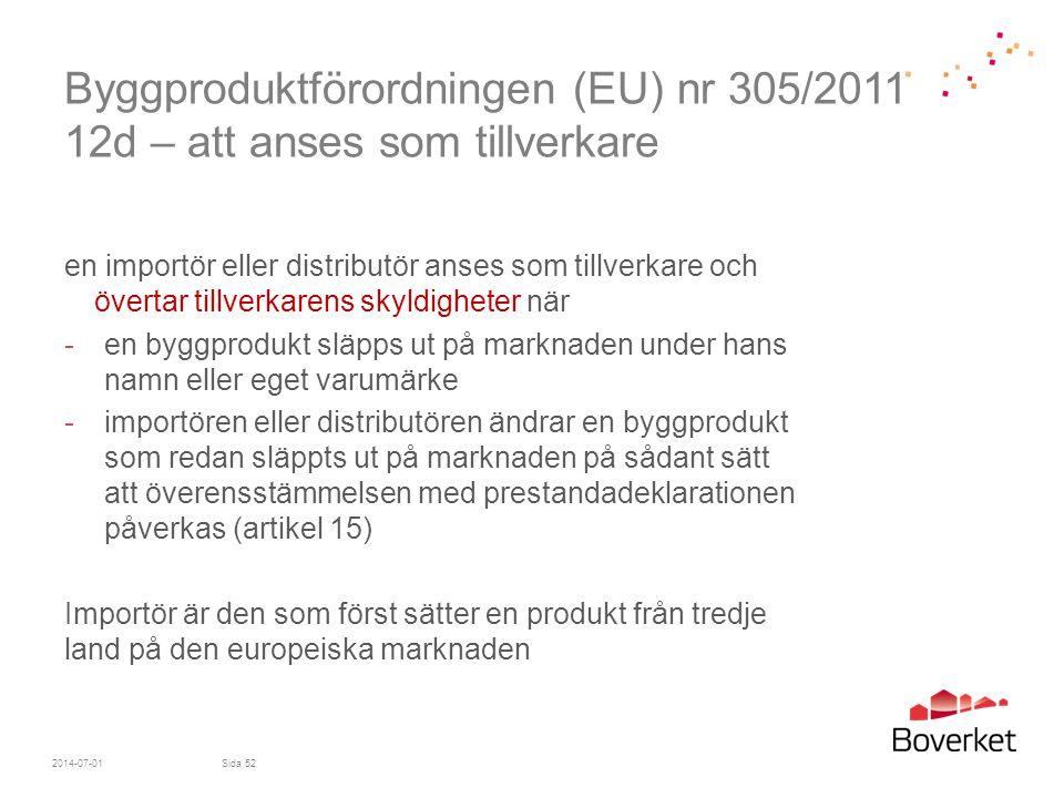 Byggproduktförordningen (EU) nr 305/2011 12d – att anses som tillverkare en importör eller distributör anses som tillverkare och övertar tillverkarens