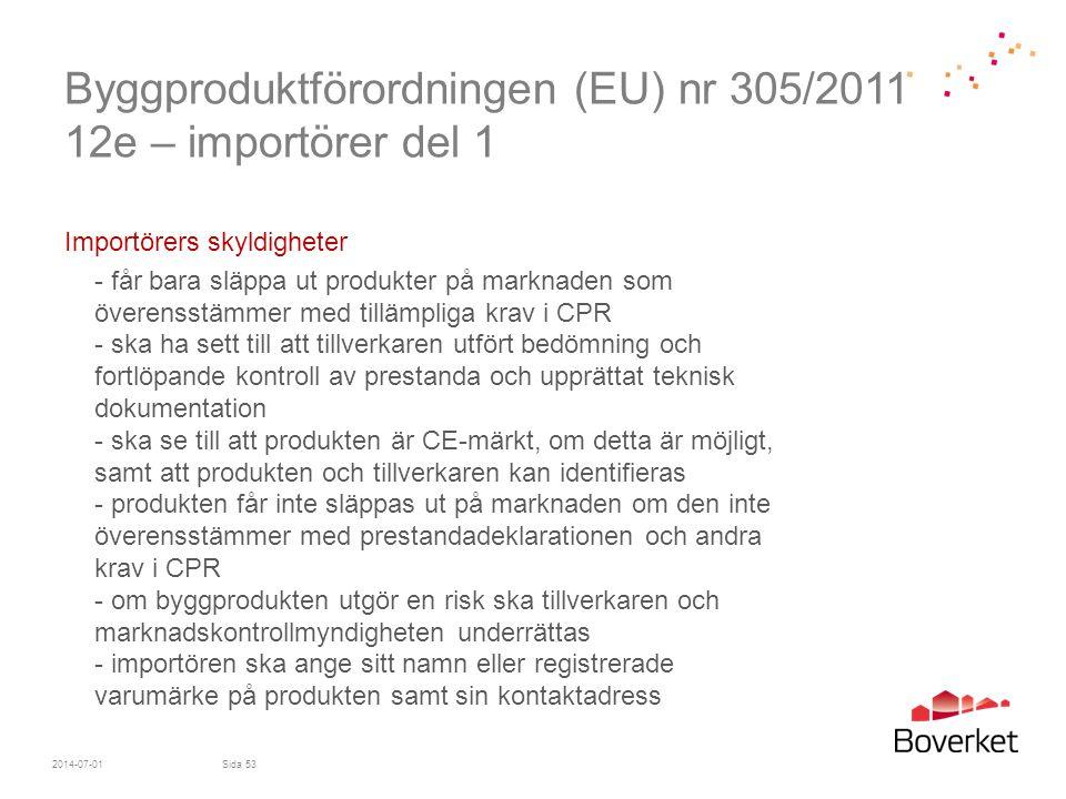 Byggproduktförordningen (EU) nr 305/2011 12e – importörer del 1 Importörers skyldigheter - får bara släppa ut produkter på marknaden som överensstämme