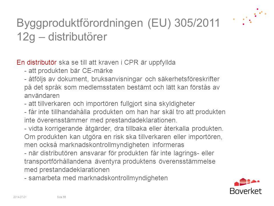 Byggproduktförordningen (EU) 305/2011 12g – distributörer En distributör ska se till att kraven i CPR är uppfyllda - att produkten bär CE-märke - åtfö