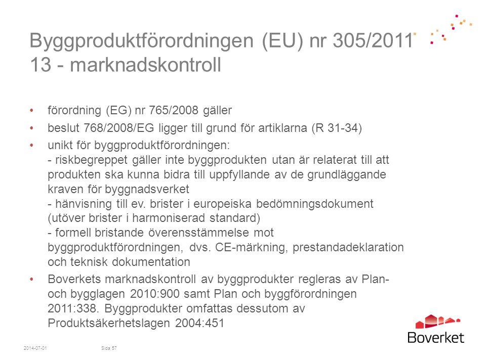 Byggproduktförordningen (EU) nr 305/2011 13 - marknadskontroll •förordning (EG) nr 765/2008 gäller •beslut 768/2008/EG ligger till grund för artiklarn