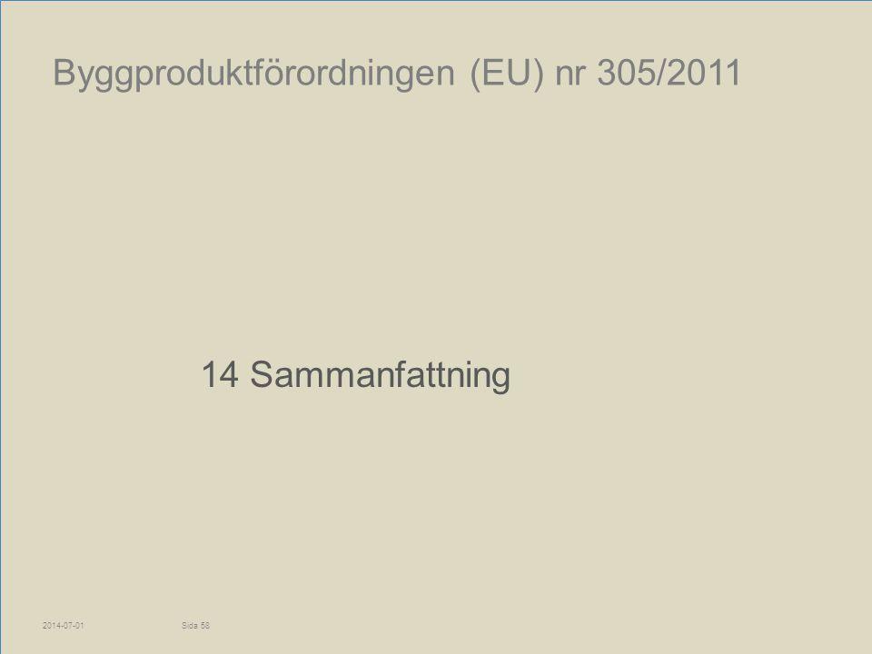 Byggproduktförordningen (EU) nr 305/2011 14 Sammanfattning 2014-07-01Sida 58