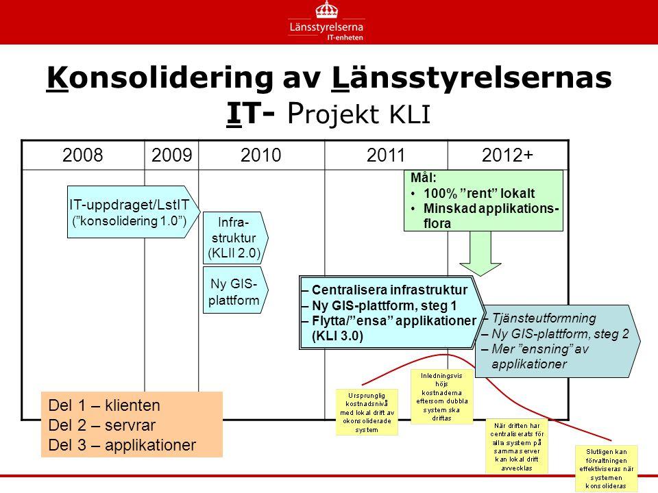 """Konsolidering av Länsstyrelsernas IT- P rojekt KLI 20082009201020112012+ IT-uppdraget/LstIT (""""konsolidering 1.0"""") Infra- struktur (KLII 2.0) Ny GIS- p"""
