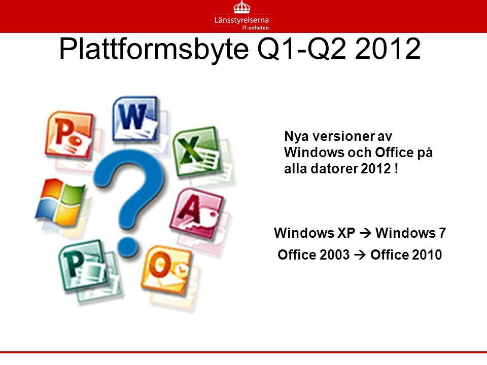Plattformsbyte Q1-Q2 2012 Nya versioner av Windows och Office på alla datorer 2012 ! Windows XP  Windows 7 Office 2003  Office 2010