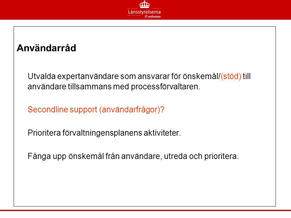Användarråd Utvalda expertanvändare som ansvarar för önskemål/(stöd) till användare tillsammans med processförvaltaren. Secondline support (användarfr