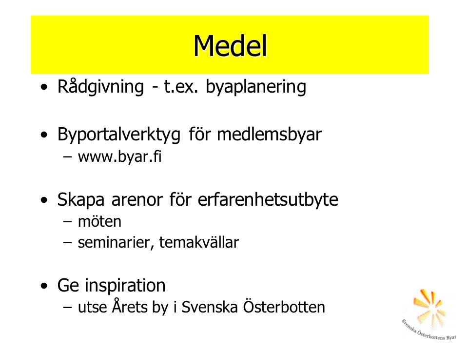 Medel •Rådgivning - t.ex. byaplanering •Byportalverktyg för medlemsbyar –www.byar.fi •Skapa arenor för erfarenhetsutbyte –möten –seminarier, temakväll