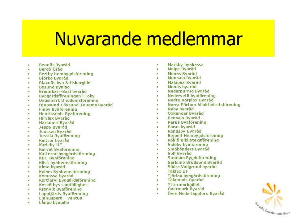 Nuvarande medlemmar •Bennäs Byaråd •Bergö Öråd •Bertby hembygdsförening •Björkö Byaråd •Blaxnäs bya & fiskargille •Bosund Byalag •Brännkärr-Bast byarå