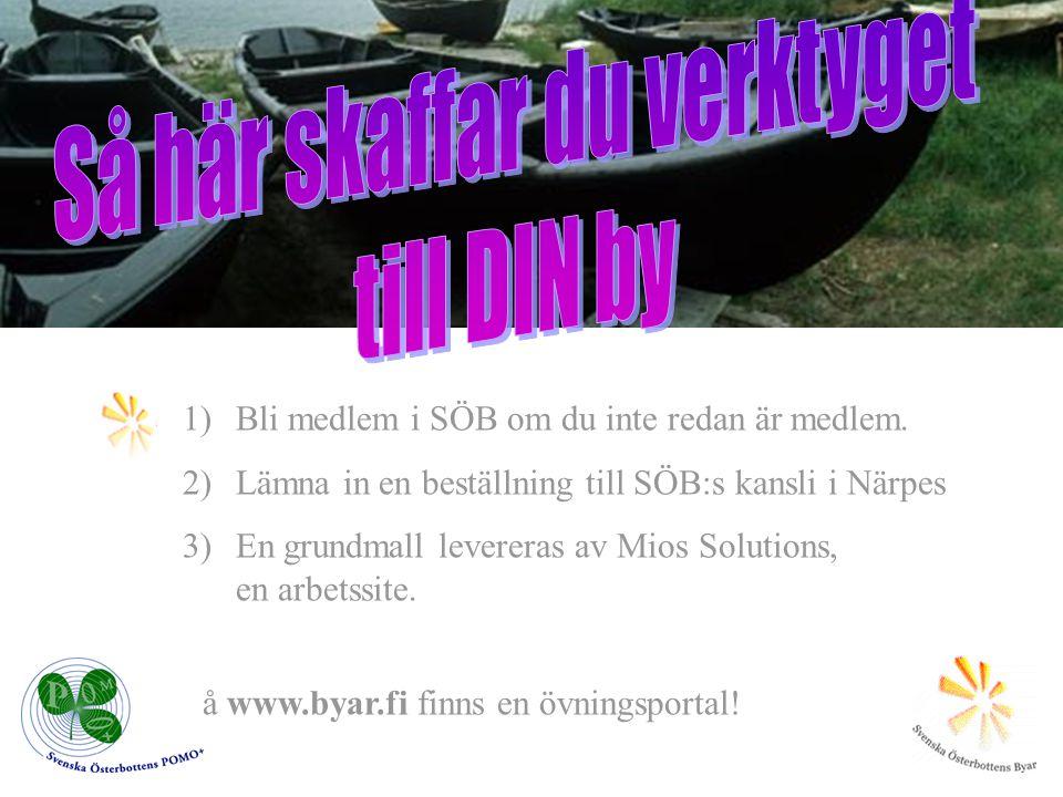 1)Bli medlem i SÖB om du inte redan är medlem. 2)Lämna in en beställning till SÖB:s kansli i Närpes 3)En grundmall levereras av Mios Solutions, en arb