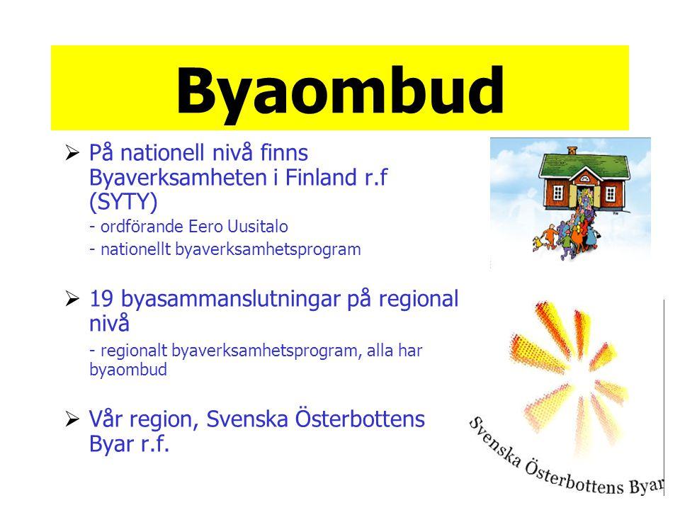 Byaombud  På nationell nivå finns Byaverksamheten i Finland r.f (SYTY) - ordförande Eero Uusitalo - nationellt byaverksamhetsprogram  19 byasammansl