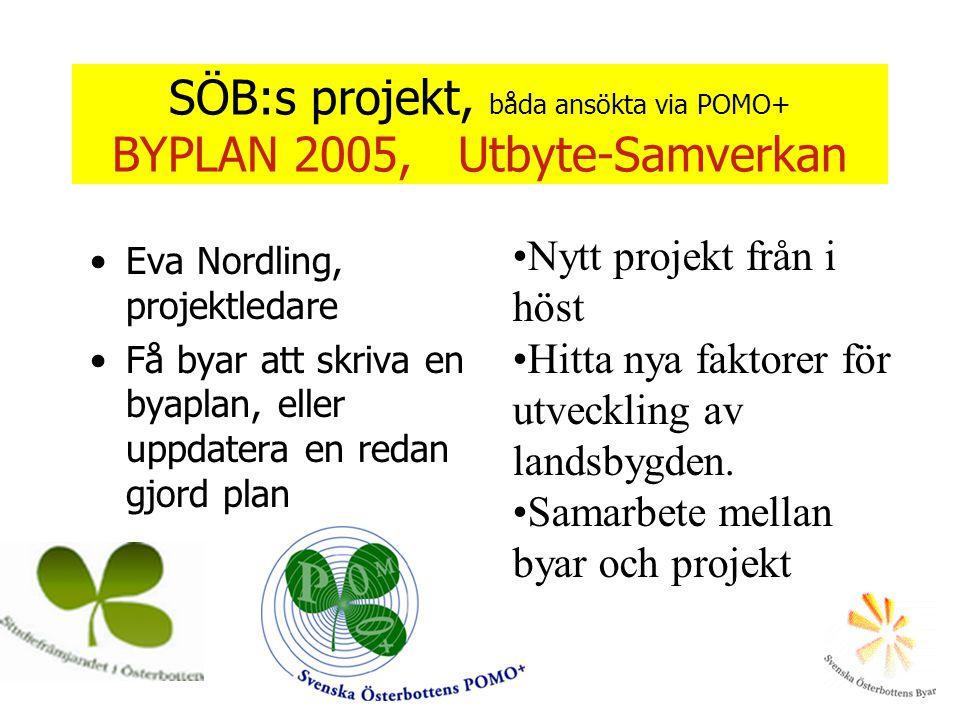 SÖB:s projekt, båda ansökta via POMO+ BYPLAN 2005, Utbyte-Samverkan •Eva Nordling, projektledare •Få byar att skriva en byaplan, eller uppdatera en re