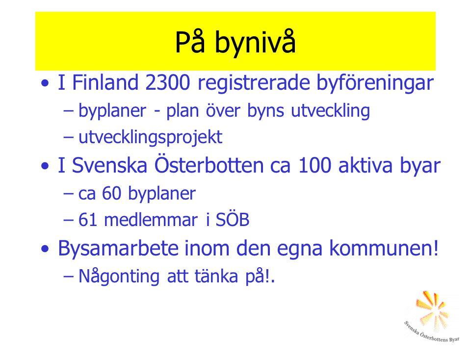 På bynivå •I Finland 2300 registrerade byföreningar –byplaner - plan över byns utveckling –utvecklingsprojekt •I Svenska Österbotten ca 100 aktiva bya