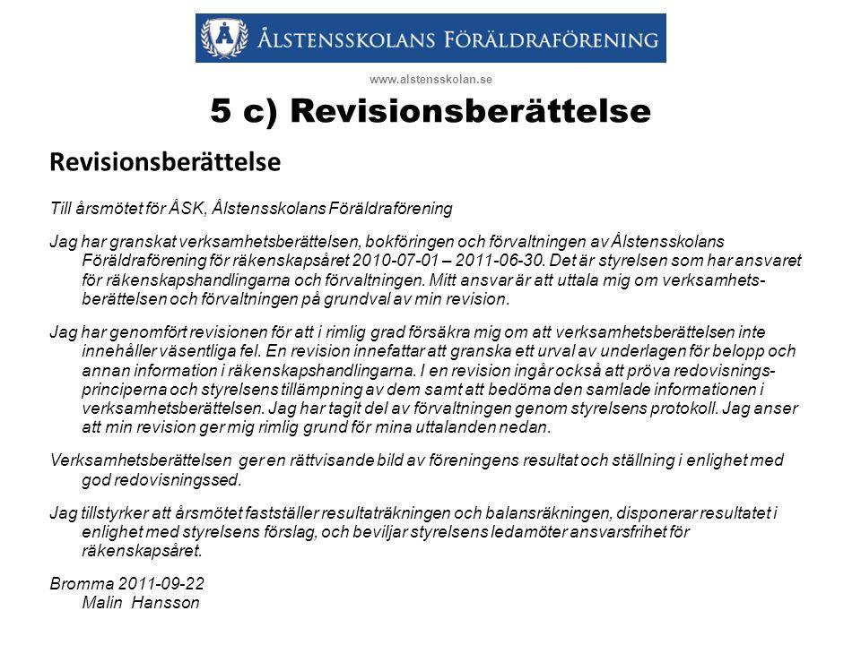 5 c) Revisionsberättelse Revisionsberättelse Till årsmötet för ÅSK, Ålstensskolans Föräldraförening Jag har granskat verksamhetsberättelsen, bokföringen och förvaltningen av Ålstensskolans Föräldraförening för räkenskapsåret 2010-07-01 – 2011-06-30.