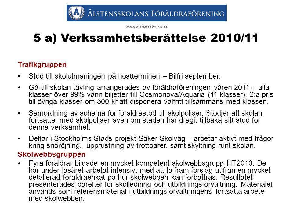5 a) Verksamhetsberättelse 2010/11 Trafikgruppen •Stöd till skolutmaningen på höstterminen – Bilfri september.