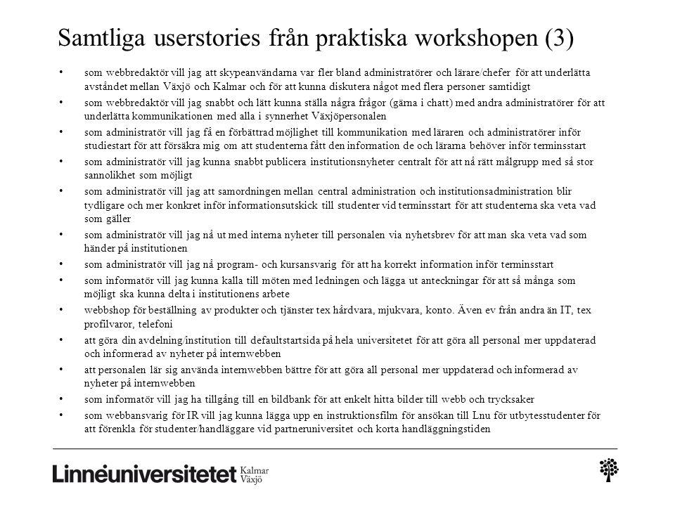 Samtliga userstories från praktiska workshopen (3) • som webbredaktör vill jag att skypeanvändarna var fler bland administratörer och lärare/chefer fö