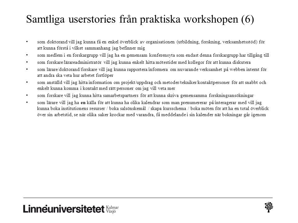 Samtliga userstories från praktiska workshopen (6) • som doktorand vill jag kunna få en enkel överblick av organisationen (utbildning, forskning, verk