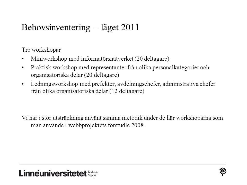 Behovsinventering – läget 2011 Tre workshopar • Miniworkshop med informatörsnätverket (20 deltagare) • Praktisk workshop med representanter från olika