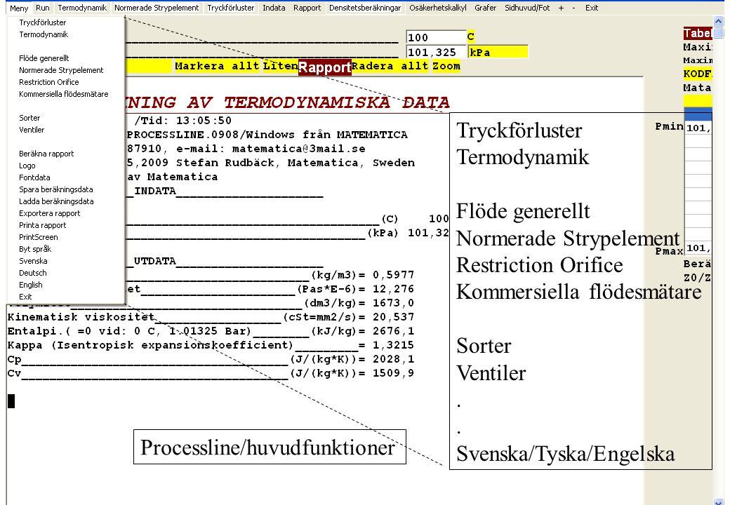 copyright (c) 2010 Stefan Rudbäck, Matematica, 0708387910, mail@matematica.se, matematica.se sid 13 Processline/huvudfunktioner Tryckförluster Termody