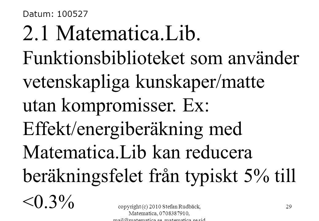 copyright (c) 2010 Stefan Rudbäck, Matematica, 0708387910, mail@matematica.se, matematica.se sid 29 Datum: 100527 2.1 Matematica.Lib. Funktionsbibliot
