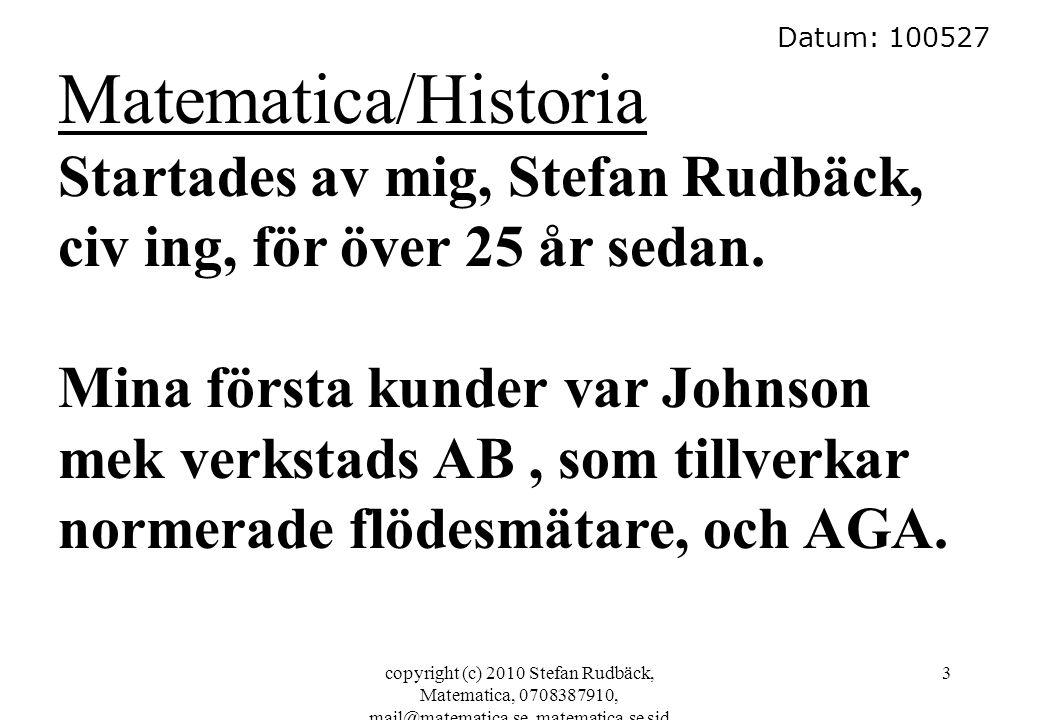 copyright (c) 2010 Stefan Rudbäck, Matematica, 0708387910, mail@matematica.se, matematica.se sid 3 Datum: 100527 Matematica/Historia Startades av mig,